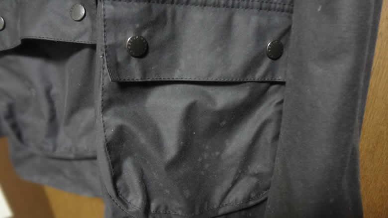 バブアービデイルSLカビ発生個所ポケット左側