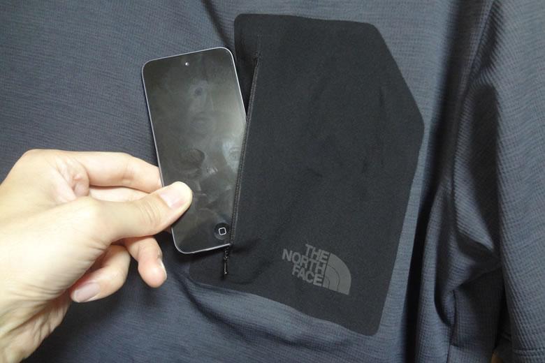 ノースフェイス スーパーハイククルー Tシャツ ポケット iphone